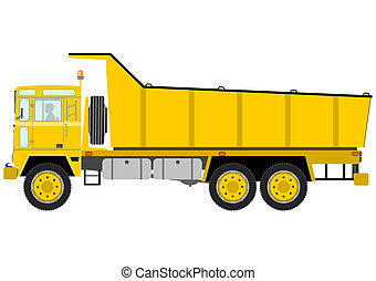 Tipper truck - Heavy yellow tipper truck on a white ...
