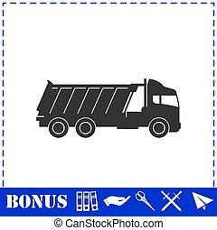 Tipper truck icon flat. Simple vector symbol and bonus icon
