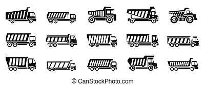 Tipper truck icons set, simple style