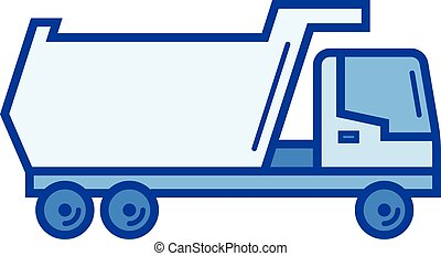 Tipper truck line icon. - Tipper truck vector line icon...