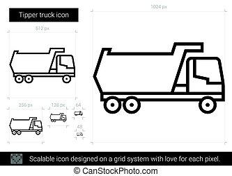 Tipper truck line icon. - Tipper truck vector line icon...