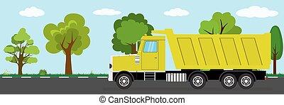 tipper truck on road, nature landscape on background, flat ...