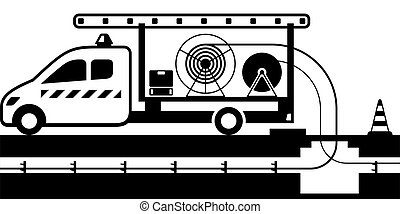 Tipper truck with wires and cables - vector illustration