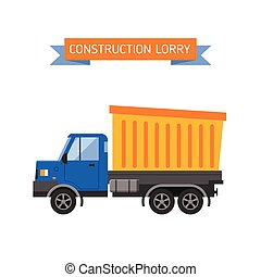 Tipper yellow truck for construction industry vector illustration.