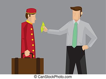 Tipping for Service in Hospitality Industry Vector Cartoon ...