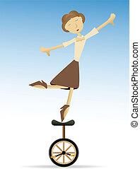 tippy, vrouw, het in evenwicht brengen, un, tenen