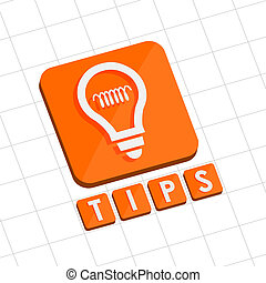 tips and bulb symbol, flat design web icon - tips and bulb ...