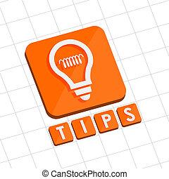 tips and bulb symbol, flat design web icon
