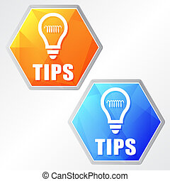 tips and bulb symbol, two colors hexagons web icons - tips ...