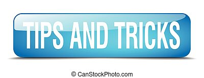 tips and tricks blue square 3d realistic isolated web button