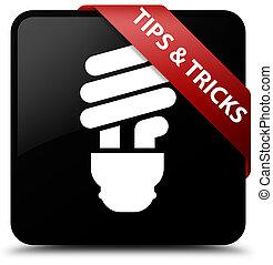Tips and tricks (bulb icon) black square button red ribbon in corner