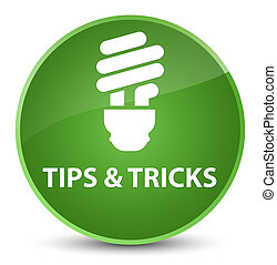 Tips and tricks (bulb icon) elegant soft green round button