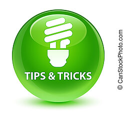Tips and tricks (bulb icon) glassy green round button