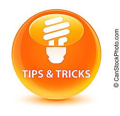 Tips and tricks (bulb icon) glassy orange round button
