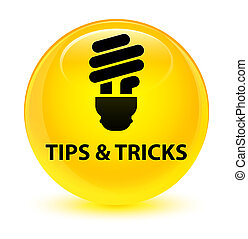 Tips and tricks (bulb icon) glassy yellow round button