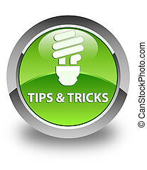 Tips and tricks (bulb icon) glossy green round button