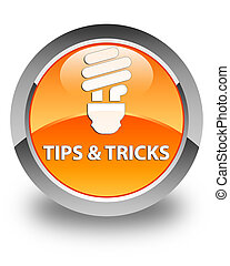 Tips and tricks (bulb icon) glossy orange round button