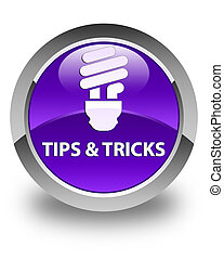 Tips and tricks (bulb icon) glossy purple round button
