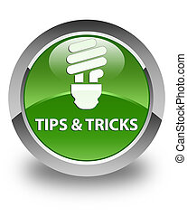 Tips and tricks (bulb icon) glossy soft green round button