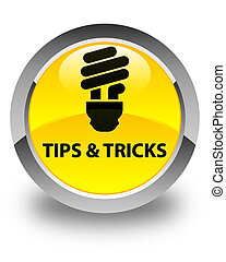 Tips and tricks (bulb icon) glossy yellow round button