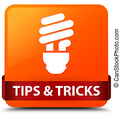 Tips and tricks (bulb icon) orange square button red ribbon in middle