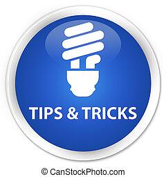 Tips and tricks (bulb icon) premium blue round button