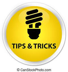 Tips and tricks (bulb icon) premium yellow round button