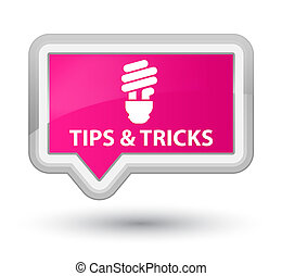 Tips and tricks (bulb icon) prime pink banner button