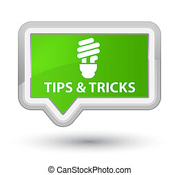 Tips and tricks (bulb icon) prime soft green banner button