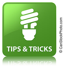 Tips and tricks (bulb icon) soft green square button