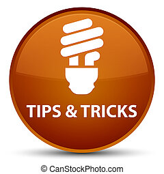 Tips and tricks (bulb icon) special brown round button