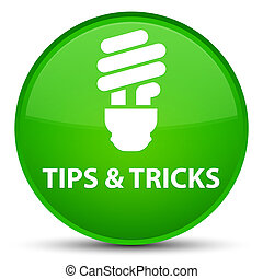 Tips and tricks (bulb icon) special green round button