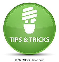Tips and tricks (bulb icon) special soft green round button