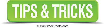 tips and tricks green 3d realistic square isolated button