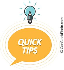 Tips and tricks symbol - Quick Tips icon with light bulb, speech bubble