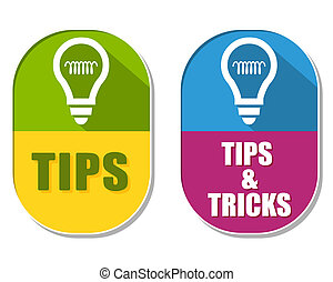 tips and tricks with bulb symbols, two elliptical labels