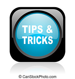 tips black and blue square web glossy icon