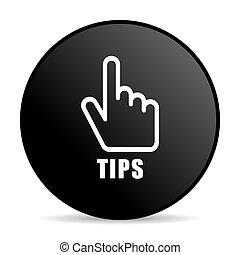 Tips black color web design round internet icon on white background.