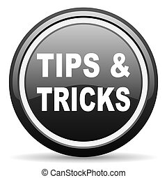 tips black glossy icon on white background