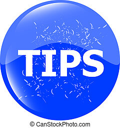 tips blue icon button in stamp style