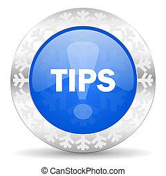 tips blue icon, christmas button