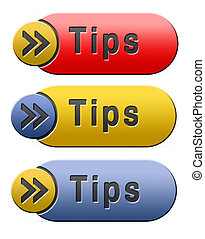 tips button - tips helpful tip and trick hot idea clue and ...