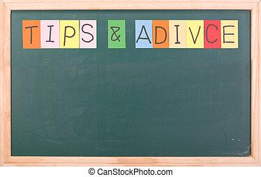 tips, en, adivice, kleurrijke, woord, op, bord
