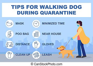 Tips for walking dog during quarantine coronavirus 2019-covid. Infographics recommendations for walking outside. Masked woman dog collar. Gloves, distance, cleaning, bag poo, limit walking time.