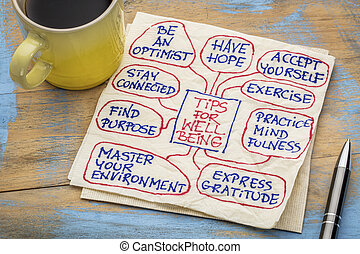 tips for well being on napkin - tips for well-being - a...