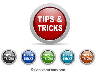 tips, glanzend, web beelden, set, op wit, achtergrond