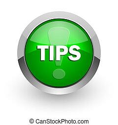 tips green glossy web icon