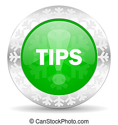tips green icon, christmas button