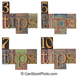 tips - headline of a list - blogging concept - 3, 5, 7, and...