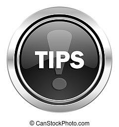 tips icon, black chrome button